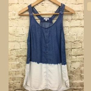 Splendid Wilder Tencel Dip Dye Tank Small S Denim